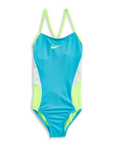 Nike Colour Surge One-Piece V-Back Swimsuit-TURQUOISE-7