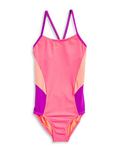 Nike Colour Surge One-Piece V-Back Swimsuit-PINK-7