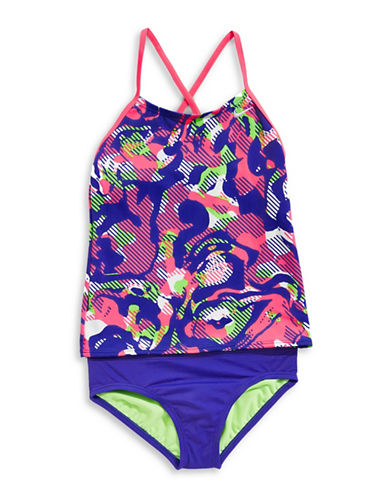 Nike Floral Crossback Tankini Two-Piece Swimsuit-DARK BLUE-8