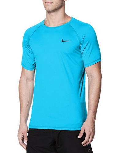 Nike Short Sleeve Hydroguard Top-LIGHT BLUE-Medium