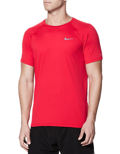 Nike Short Sleeve Hydroguard Top-RED-Small