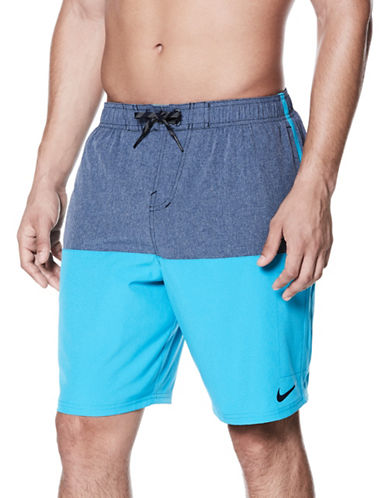 Nike Heather Split Volley Swim Shorts-OBSIDIAN BLUE-Medium