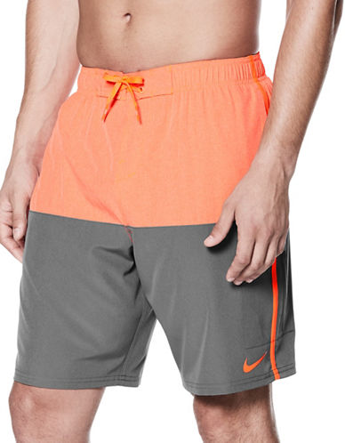 Nike Heather Split Volley Swim Shorts-CRIMSON-Large