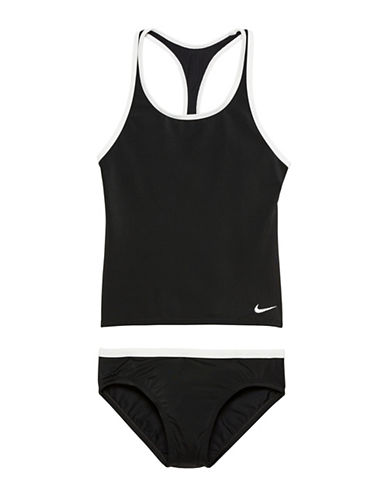 Nike Racerback Sport Tankini Top and Swim Brief Set-BLACK-10