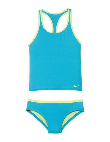 Nike Racerback Sport Tankini Top and Swim Brief Set-BLUE-8