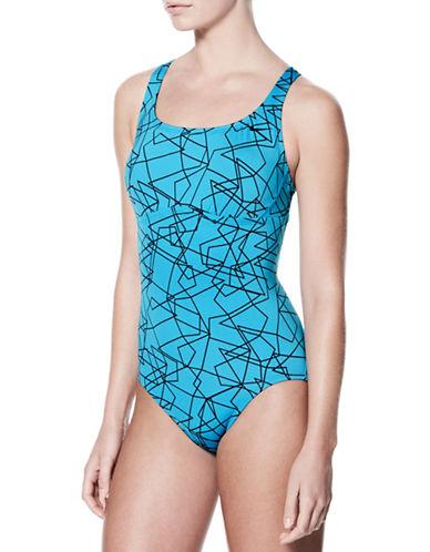 Nike Swim Racerback Spliced One-Piece Swimsuit-LIGHT BLUE-Medium