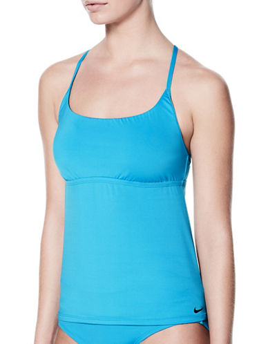 Nike Swim Adjustable Crossback Tankini Top-LIGHT BLUE-Large