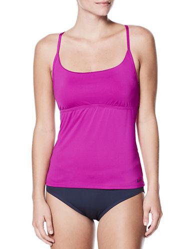 Nike Swim Adjustable Crossback Tankini Top-FUCHSIA-Small