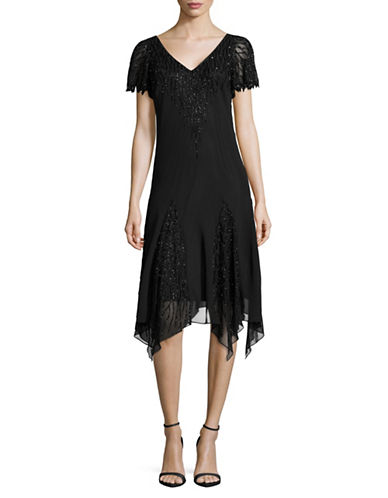 J Kara Beaded Chiffon Dress-BLACK-2
