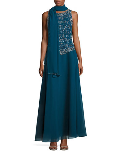 J Kara Beaded Fit-and-Flare Gown with Scarf-BLUE-2