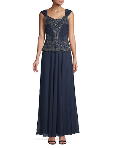J Kara Beaded Maxi Gown-BLUE-6