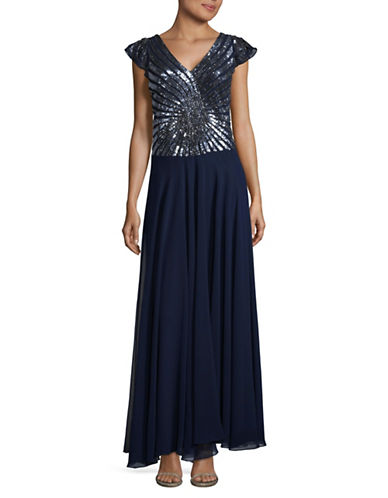 J Kara Beaded Top Gown-NAVY-6