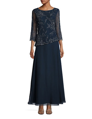 J Kara Beaded Floral A-Line Gown-BLUE-8