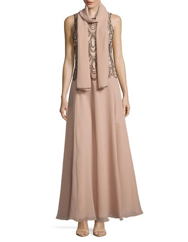 J Kara Scallop Beaded Chiffon Gown with Shawl-PINK-10