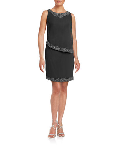 J Kara Beaded Asymmetrical Popover Dress-GREY-16