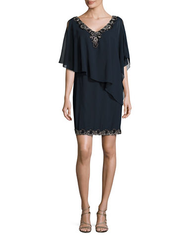 J Kara Bead Trim Dress with Chiffon Cape-BLUE-4