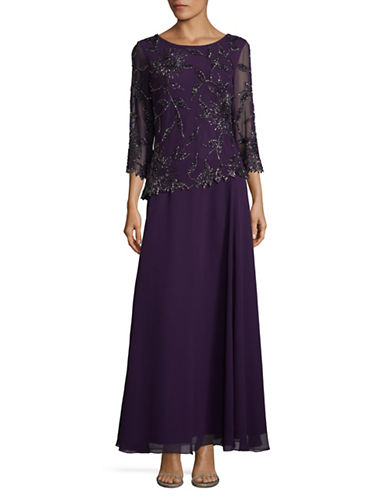 J Kara Beaded Floral Dress-PLUM-6