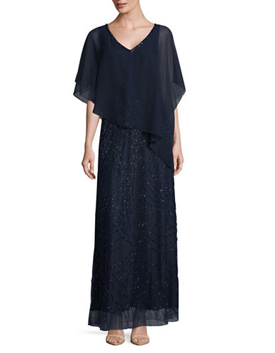 J Kara Beaded Chiffon Overlay Gown-BLUE-10
