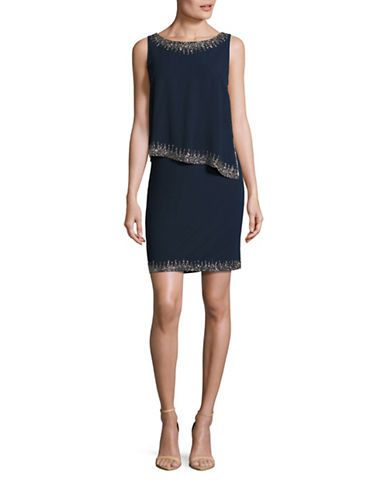 J Kara Sleeveless Bead Trim Popover Dress-BLUE-16