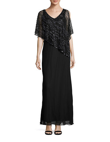 J Kara Beaded Capelet Sheath Gown-BLACK-4