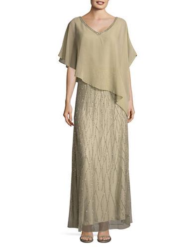 J Kara Bead V-Neck Chiffon Overlay Gown-SAGE-8