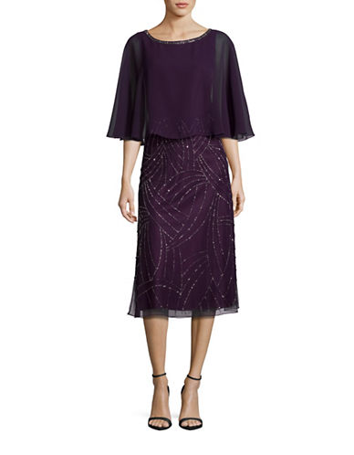 J Kara Chiffon Overlay Beaded Dress-PURPLE-2