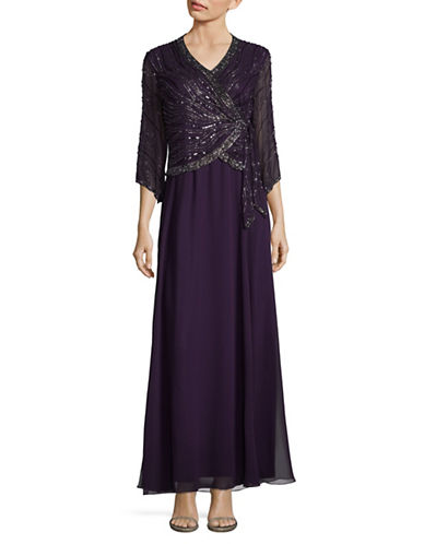 J Kara Crossover Wrap Beaded Maxi Dress-PURPLE-10