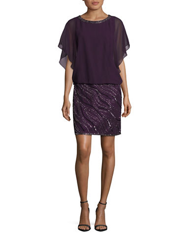 J Kara Beaded Chiffon Cape Dress-PURPLE-2