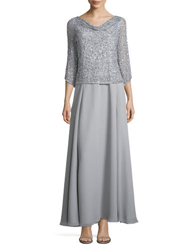J Kara Sequined Cowl Neck A-Line Gown-SILVER-6