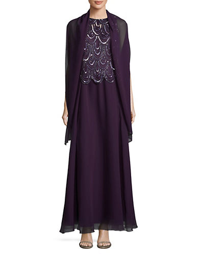 J Kara Beaded Popover Waist Gown with Wrap-PLUM-4