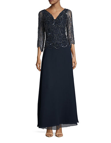 J Kara Embellished Sleeveless Gown-BLUE-10