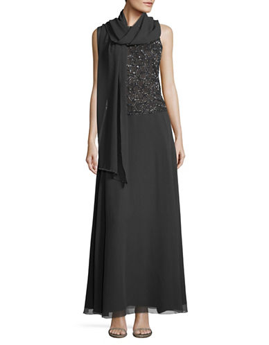 J Kara Beaded Popover Gown-GREY-14