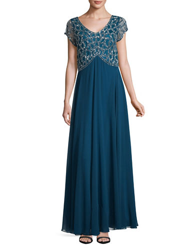 J Kara Bell Skirt Floor-Length Dress-BLUE-4