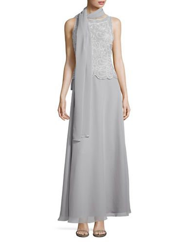 J Kara Beaded Fit-and-Flare Gown with Scarf-SILVER-6