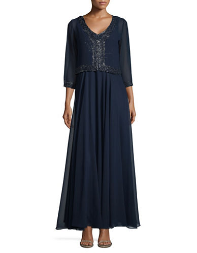 J Kara Beaded Chiffon Gown With Bolero-NAVY-14