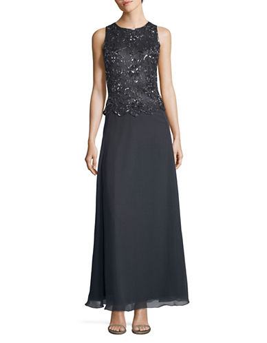 J Kara Beaded Full Length Gown-GREY-16