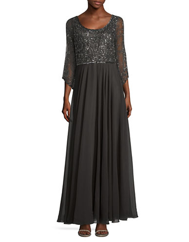 J Kara Beaded Chiffon Bodice Gown-GREY-12