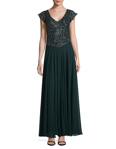 J Kara Cap Sleeve Floor-Length Dress-GREEN-16