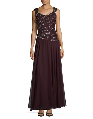 J Kara Sleeveless Floor-Length Dress-RED-12