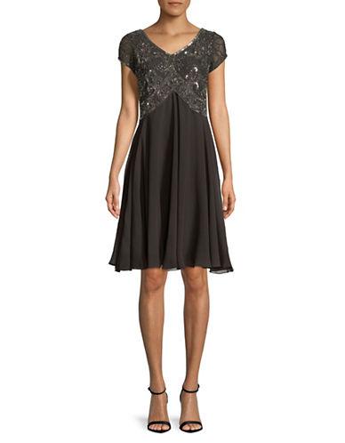 J Kara Beaded Chiffon Dress-GREY-10