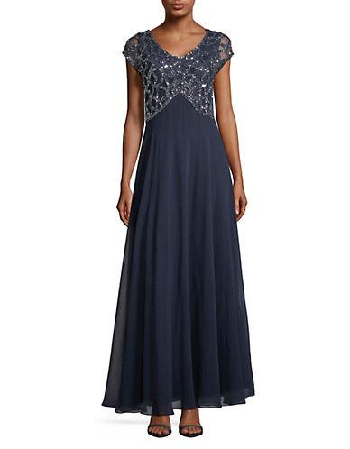 J Kara Bead Bodice Jersey Gown-NAVY-12