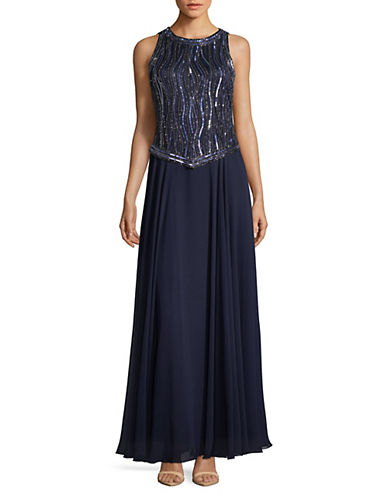 J Kara Embellished Sleeveless Floor-Length Gown 89776387