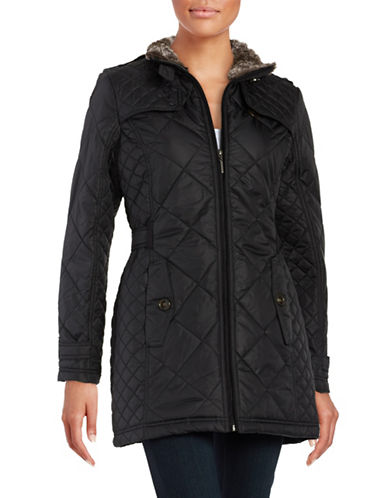 Weatherproof City Walker Diamond Quilted With Faux Fur Collar Coat-BLACK-Small 88601582_BLACK_Small