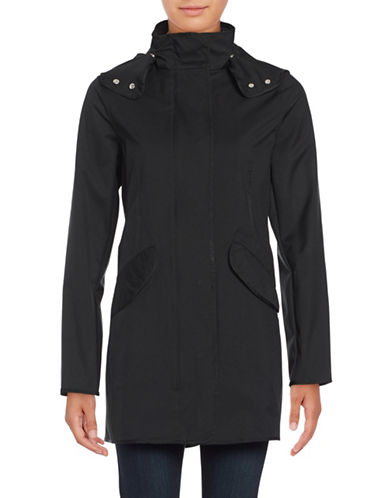 Weatherproof Hooded Zip-Front Slicker Anorak-BLACK-Small