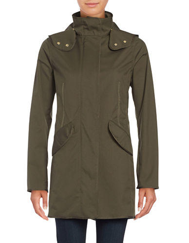 Weatherproof Hooded Zip-Front Slicker Anorak-OLIVE-Small