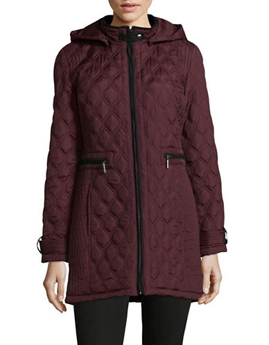 Weatherproof Quilted Stand Collar Coat-RED-Medium