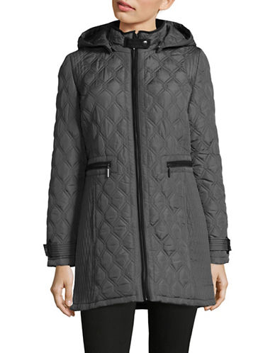 Weatherproof Quilted Stand Collar Coat-SMOKE GREY-Large