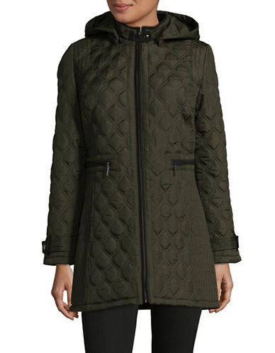 Weatherproof Quilted Stand Collar Coat-LEAF-Small