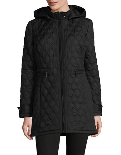 Weatherproof Quilted Stand Collar Coat-BLACK-Large