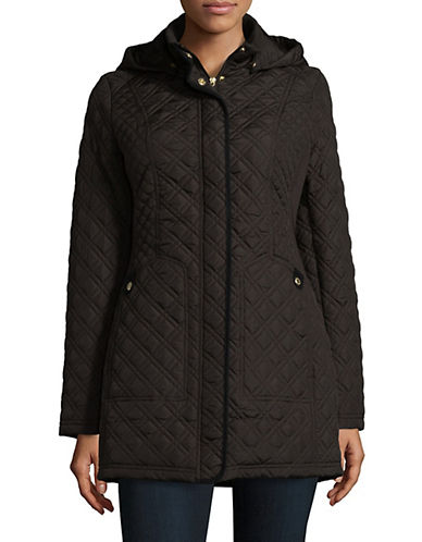 Weatherproof Long Quilted Jacket with Detachable Hood-CHOCOLATE-2X
